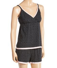 Love this Black Polka Dot Double the Fun Short Pajama Set on #zulily! #zulilyfinds