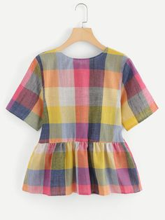 Knot Back Plaid Blouse -SheIn(Sheinside) Plaid peplum top inspiration Girls Fashion Clothes, Teen Fashion Outfits, Girl Outfits, Stylish Dresses For Girls, Stylish Dress Designs, Crop Top Outfits, Cute Casual Outfits, Jugend Mode Outfits, Indian Designer Outfits