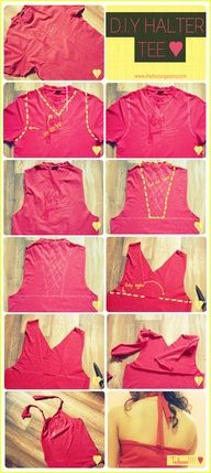 This looks like a really good productThis is how you can rip your guys tee shirt and turn it into a gorgeous Halter Tee 3 #DIY