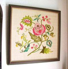 Vintage Crewel Work - Floral Design $48