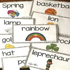 st-patricks-day-activities-vocabulary Math Task Cards, Vocabulary Cards, Word Work Activities, Kindergarten Activities, Teaching Resources, Teaching Ideas, Concepts Of Print, St Patrick Day Activities, Illustrated Words