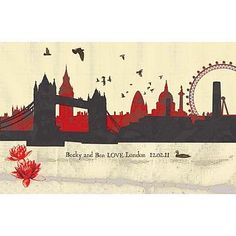 Skyline Mounted Print by Alice Palace, the perfect gift for Explore more unique gifts in our curated marketplace. Bridge Drawing, Skyline Painting, London Skyline, Silhouette, London Art, Learn To Paint, Sleeve Tattoos, Cross Stitch Patterns, Images