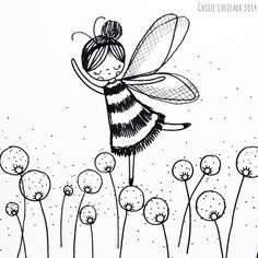 Bee Girl. Day 158 of yearlong sketchbook project. Cassie Loizeaux 2014
