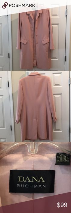 Coat,100% wool,classic style,rose pastel color. Some items are timeless,forever as this vintage Dana Buchman - when Dana was Dana, Bridge Wear in UPSCALE stores. A great tailor can always tweak these classics to make more relevant & trendy. I tend not to change lines too much as classic always endure. Although a size 12,generously cut will likely fit a smaller 14.  Price drop until ball drops, 25% off until end of 2017! Dana Buchman Jackets & Coats