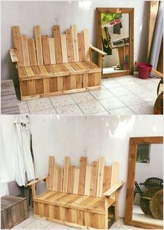 The addition of the wood pallet bench can come up as a perfect option for your store room or guest room. This wood pallet bench is all set with the good condition wooden pallets use in it that do look so unique and favorably innovative too. Set this wood pallet bench in your living room right now!