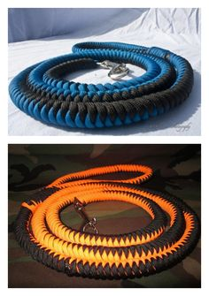 Paracord dog leashes | The top one is doing the rounds atm, but doesn't link to instructions.  The bottom one does, so I've combined 'em :)  Via: 1) Danna Griffith  and 2) J. Woytko