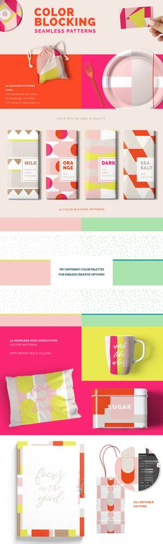 Color Blocking Patterns - Introducing this minimal, geometric and full of color trend with this lovely set . Vector Pattern, Pattern Design, Packaging Design, Branding Design, Kids Packaging, Soap Packaging, Layout Design, Web Design, Site Website