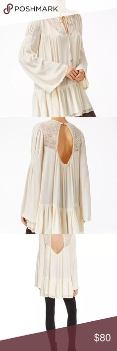 Free people one night Victorian ivory tunic Beautiful nwt tunic ivory Free People Tops Tunics