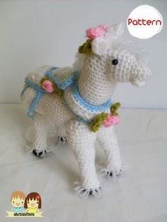 The Fancy White Horse Amigurumi Pattern PDF by AmigurumiByAhmaymet, $4.99