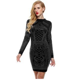 Black Meaneor women sexy geometric retro rhinestone high o-neck tight party…