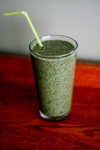 Green Smoothie - omit flax and chia seeds to make it #gastroparesis friendly; love the idea of using frozen pineapple - it contains bromelain, a plant-based enzyme that helps break down fiber.
