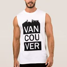 Men's sleeveless t-shirt with Vancouver lettering - white gifts elegant diy gift ideas