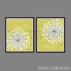 FLOWER Art Prints, CHEVRON Wall Art, MODERN Floral Wall Decor, Chartruese and White Art, Art Print, by Prints Avenue