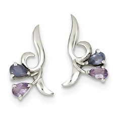 ICE CARATS 925 Sterling Silver Purple Amethyst Blue Iolite Post Stud Earrings Drop Dangle Fine Jewelry Gift For Women Heart *** See this great product. (This is an affiliate link) #JewelryForWomen
