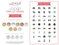 New Charms and Coins from South Hill Designs.  http://SouthHillDesigns.com/TammyTamayo