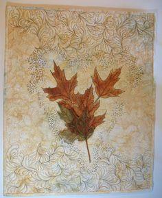 Art Quilt Fall Oak Leaves, Wall Hanging