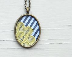 Lace Necklace Stripes Spring Lace Fashion Vintage by TheWhirlwind Yellow Lace, Grey Yellow, Lemon Yellow, Gray, Pastel Yellow, Mustard Yellow, Fabric Jewelry, Etsy Jewelry, Jewelry Accessories