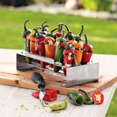 Great tool and rack for roasting peppers-Williams Sonoma