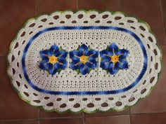 OS CROCHES DA ELSA: Tapete Oval com Flor Estrela do Mar