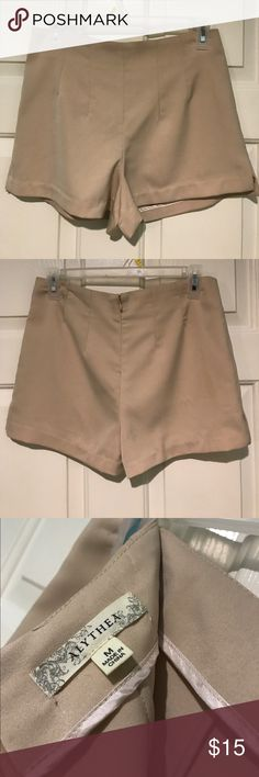 [Alythea] High Waisted Dress Shorts New without tags // Never worn // Alythea High Waisted, Pleated Dressy Shorts // Medium // Zipper in back with clasp at top // 100% Polyester (Hand Wash Cold) // Light Beige // These are super cute and sophisticated and they feel like dress slacks. Alythea Shorts