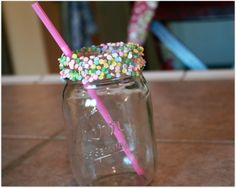 Easy DIY candy sprinkle rimmed glasses for parties! Punch recipes too! And free printable labels. cutestbabyshowers.com #babyshower
