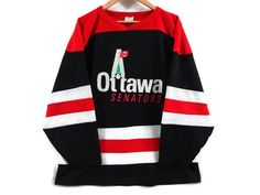 Vintage 1991 Ottawa Senators Hockey Jersey - Large - Pre-launch Logo - Concept Logo - Rare - Mesh Jersey - NHL - Ontario Hockey - Collector by BLACKMAGIKA on Etsy Spartan Logo, Vintage Outfits, Vintage Clothing, Logo Concept, Ottawa, Nhl, Hockey, Product Launch, Menswear