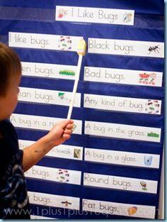 good idea...make pocket chart sentence strips to match an easy reader!