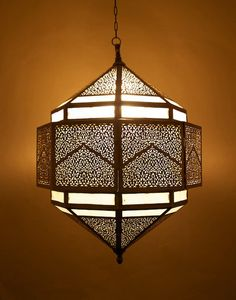 Antique Brass Moroccan Hanging Light with Frosted Glass Inserts