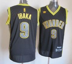 Thunder  9 Serge Ibaka Black Electricity Fashion Embroidered NBA Jersey!  Only  25.50USD 5bcda8115