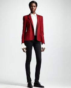 -4C08 Saint Laurent Piped One-Button Blazer, Collared Silk Blouse & Skinny Low-Waist Jeans