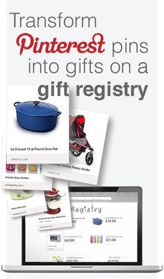 Transform Pinterest pins into gifts on a gift registry http://myregistry.com/pinterestaddon/