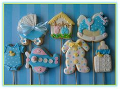 Baby Cookies In Blue. Royal icing And Fondant