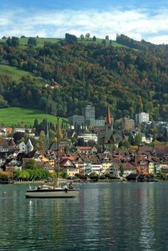 City of Zug, Switzerland. City of Zug in Switzerland. Taken from across the lake , Winterthur, Zermatt, Places To Travel, Places To See, Berne, Beautiful Places In The World, Dream Vacations, Europe, Scenery