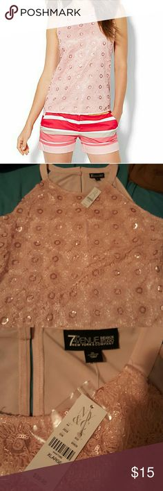 Pink Sparkly New York and Company Top Adorable pink sleeveless top. Brand new. Cute with any outfit. New York & Company Tops