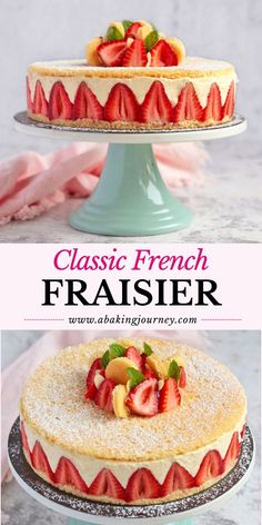 Classic French Fraisier Cake (Strawberry Mousse Cake) - This Classic French Fraisier Cake recipe makes the most delicious summer cake ever! Perfect for a f - Sponge Cake Recipes, Best Cake Recipes, Sweet Recipes, Perfect Sponge Cake Recipe, Genoise Sponge Cake Recipe, French Desserts, Köstliche Desserts, Dessert Recipes, Food Cakes