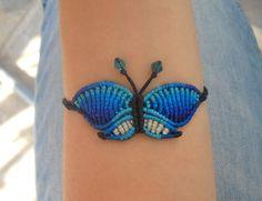 Macrame bracelet blue butterfly/handmade micromacrame por lulupica