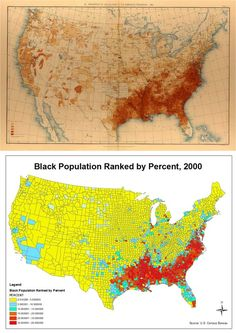 1890 & 2000 Maps of % of African American Population - intriguing comparison!