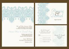Custom wedding invitation Blue lace wedding by IDoWeddingDesigns47, $1.60 - can put my own doillie cover?