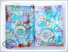 Peek-a-boo designs, Peek-a-boo designs stencil, Peek-a-boo designs stamps, Lotus journal page, mixed media, Shilpa Nagaonkar, Neon diary blog