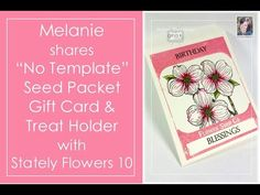 How to Make a Seed Packet Gift Card Holder-No Template Needed! - stampTV- video 13:21minToday Melanie shows you how to make as easy seed packet from her label in Stately Flowers 10, no template required! This little pouch is perfect for gift cards, crafty items like buttons or sequins, or fun edibles like powdered drink mix or Pop Rocks!