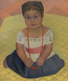 Kneeling Child on Yellow Background (Mexican Girl-Child) by Diego Rivera, oil and wax on canvas, 1927 Diego Rivera Art, Social Realism, National Art, Artist Gallery, Yellow Background, Woman Painting, Public Art, American Artists, Art And Architecture
