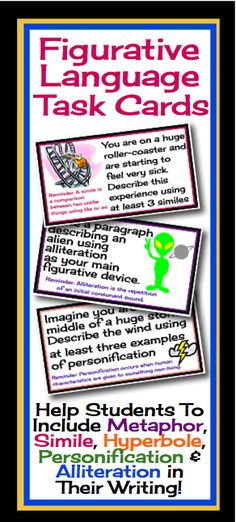 This resource includes 30 task cards for students to practice including figurative language into their writing to enhance description. #hyperbole #personification #alliteration #simile #metaphor #figurativelanguage #teacher #taskcards