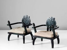 Ettore Zaccari Pair of Black and Green Armchairs 2