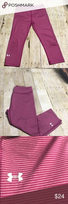 Under Armour compression Capri leggings In great condition! These are super cute pink stripe. Capri style compression leggings Under Armour Pants Leggings