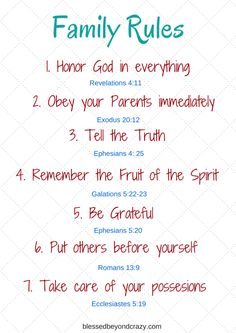 Family Rules Based on Biblical Truths. Bible verses to back the rules up and a FREE printable! by laurie Christian Kids, Christian Families, Christian Living, Truth For Kids, Family Rules Printable, Rules For Kids, Thing 1, House Rules, Christian Parenting