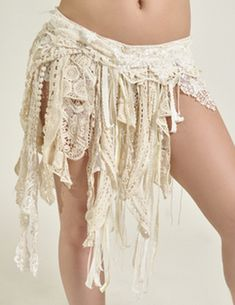 Beige White Tribal Fusion Belly Dance Belt