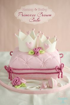 Baby Shower Cakes DIY - Mommy and Baby Princess Crown Cake - Easy Cake Recipes and Cupcakes to Make For Babies Showers - Ideas for Boys and Girls, Neutral, for Twins Girly Cakes, Baby Cakes, Cute Cakes, Baby Shower Cakes, Princess Crown Cake, Baby Princess, Princess Cakes, Princess Crowns, Princess Theme