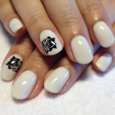 CND Shellac Studio White with black rose detail