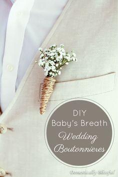 DIY Baby's Breath Wedding Boutonnieres http://domesticallyblissful.com/diy-babys-breath-wedding-boutonnieres/ #budget #diy #bride