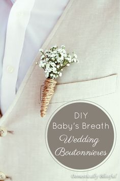 DIY Baby's Breath Wedding Boutonnieres http://domesticallyblissful.com/diy-babys-breath-wedding-boutonnieres/ #budget #diy #bride